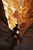 Climber in canyon Royalty Free Stock Images