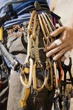 Climber with Carabineers Around Waist, Stock Photography