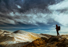 Climber  in the Carpathian mountains Royalty Free Stock Image