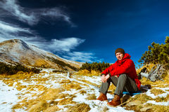 Climber  in the Carpathian mountains Stock Photo