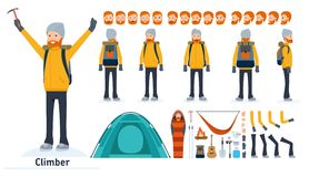 Climber character creation set. Climber, tourist. Icons with different types of faces and hair style, emotions, front Stock Photography