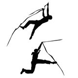 Climber climbing silhouette illustration. Isolated on white background Royalty Free Stock Photos