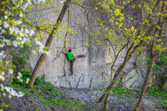 Climber climbs on the rock. Royalty Free Stock Photos
