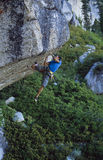 Climber clinging to a cliff. Royalty Free Stock Images