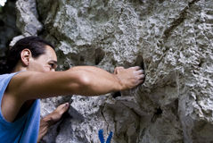 Climber on crux Stock Photos