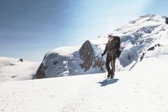 Climber descends after climbing Mont Blanc Stock Photos