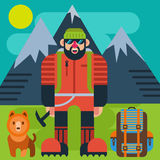 Climber with dog vector illustration Stock Photo
