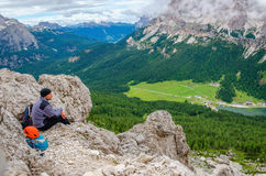 Climber in Dolomites Mountains, Italy Royalty Free Stock Photos