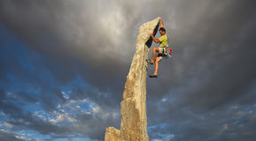 Climber on the edge. Royalty Free Stock Image