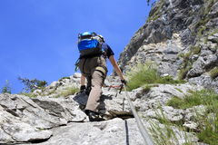 Climber with equipment Stock Images