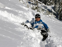 Snow climber fall Stock Photo