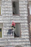 Climber of firefighters during exercise Stock Photography