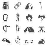 Climber gear equipment icons black Royalty Free Stock Photography