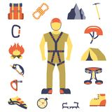 Climber gear equipment icons flat Royalty Free Stock Image