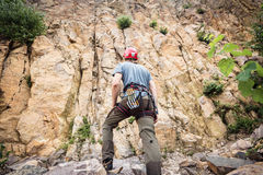 Free Climber Getting Ready For Rock Climbing Stock Image - 98012641