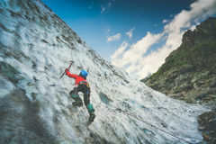 Climber on a glacier. Instagram stylisation Royalty Free Stock Photo