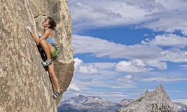 Climber gripping the rock. Royalty Free Stock Photography