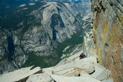 Climber on Half Dome Royalty Free Stock Image
