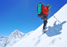 Climber in Himalayan mountain Stock Images