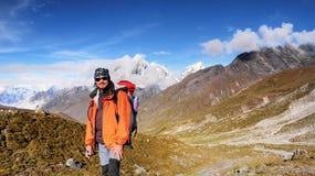 Climber in Himalayas Mountains Stock Photo