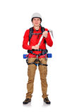 Climber with ice ax Royalty Free Stock Image