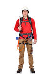Climber with ice axe Stock Images