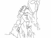 Climber illustration with background. A line drawing of a climber - with background royalty free illustration