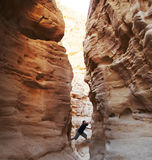 Climber In Canyon Royalty Free Stock Image