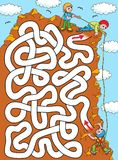 Climber - labyrinth easy. Help a climber to find a correct way to the top of the rock. Labyrinth for kids stock illustration