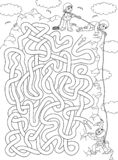 Climber - labyrinth for kids. Help a climber to find a correct way to the top of the rock. Labyrinth for kids. Vector illustration of labyrinth, maze with entry royalty free illustration