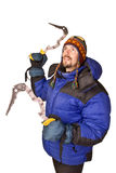 Climber man with chisel in hands up Stock Photos