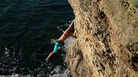 Climber Man Climbing stock footage
