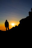 Climber at Merapi volcano summit, Java. Royalty Free Stock Photography