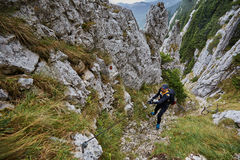 Climber on mountain Stock Images