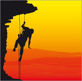 Climber, mountaineer 3. Isolated Image of a Male Abseiler Climbing a Rock Face stock illustration