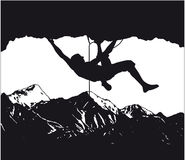 Climber, mountaineer 2. Vector silhouette of a climber Stock Photography