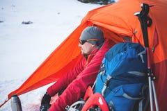 Climber near the tent. Stock Photo