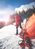 Climber near the tent. Stock Image