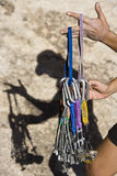 Climber organizing gear. Stock Images