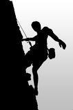 Climber pause. Illustration of black silhouette on a rock or rock climbing Stock Photography