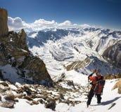 Climber-photographer #2. Descent from peak Soviet's (4300 m). Tian-Shan. Kazakhstan Royalty Free Stock Images