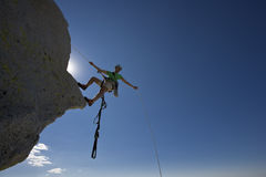 Climber rappelling. Royalty Free Stock Photo