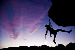 Climber rappelling. Royalty Free Stock Photos