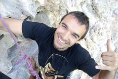 climber reaching top wall στοκ εικόνα με δικαίωμα ελεύθερης χρήσης