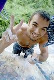 climber reaching top wall στοκ εικόνες