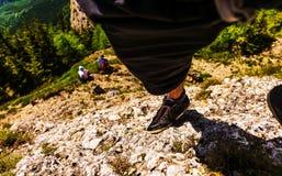 Climber on Rock. Leg of a climber on rock Stock Image