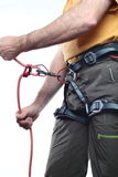 Climber with rope Royalty Free Stock Image