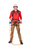 Climber with rope Royalty Free Stock Images