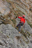 Climber on a route Royalty Free Stock Image