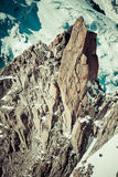 Climber on the route.Aiguille du Midi Stock Image